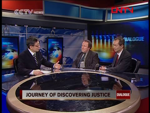Photo of DIALOGUE, CCTV-News, Beijing, Yang Rui with Kenda Gee & Tom Radford.